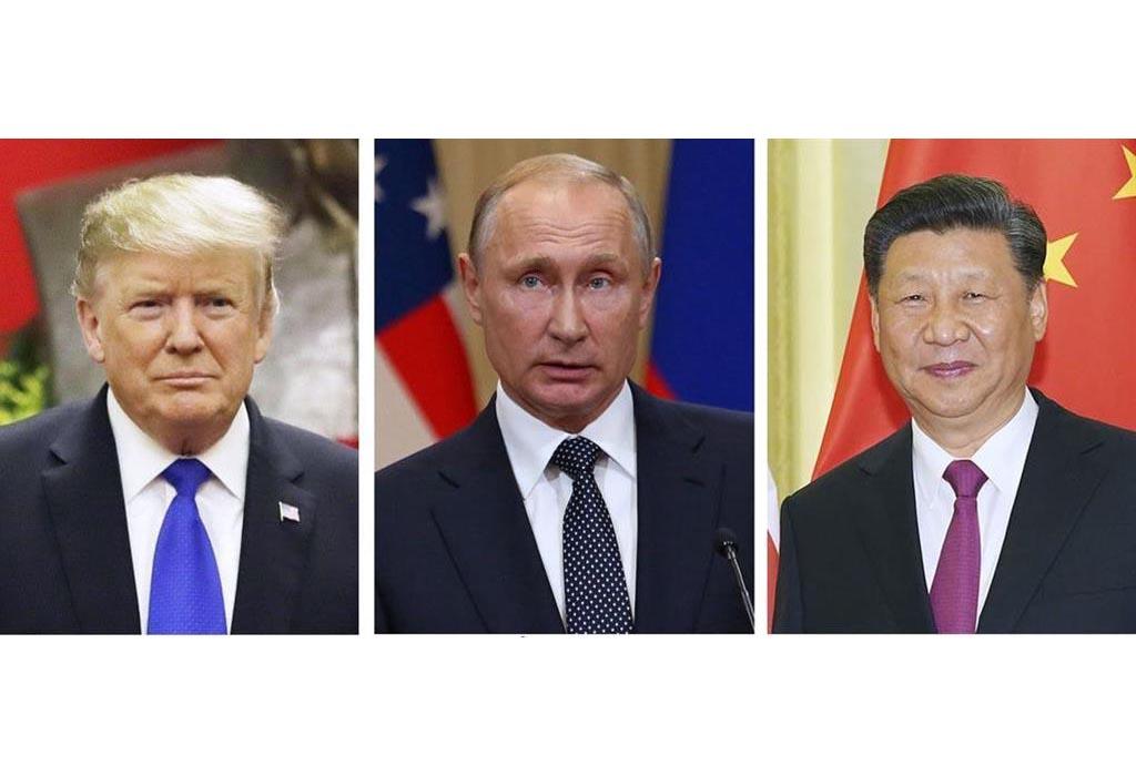 (左から)トランプ米大統領(AP)、ロシアのプーチン大統領(UPI=共同)、中国の習近平国家主席