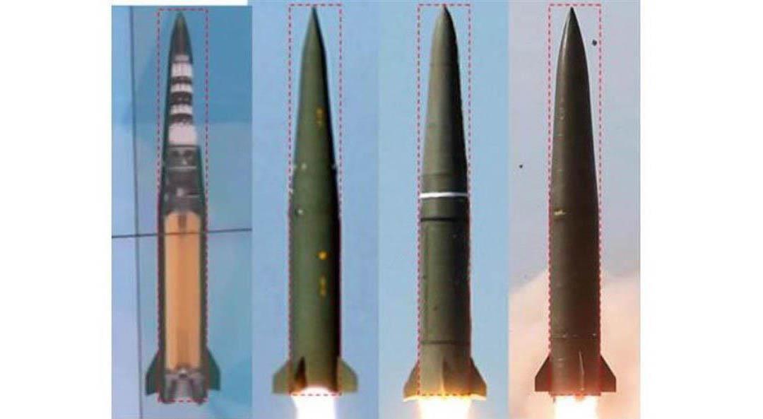 類似点が指摘される各国のミサイル。(左から)ウクライナの「グロム」、韓国の「玄武2」、ロシアの「イスカンデル」、北朝鮮が4日発射した飛翔体(38ノース提供・共同)