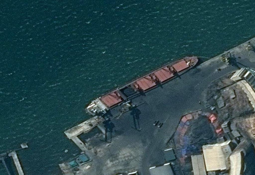 押収された北朝鮮籍の運搬船。米司法省が衛星写真を公開した(AP)