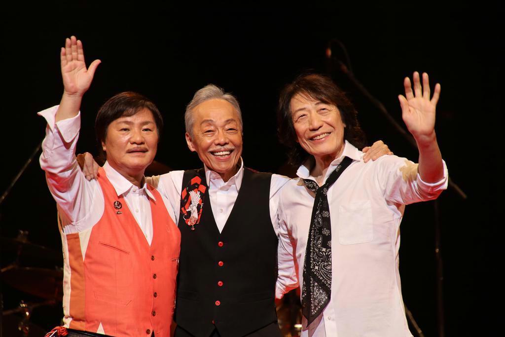 公演に向け、リハーサルを行った。左から堀内孝雄、谷村新司、矢沢透