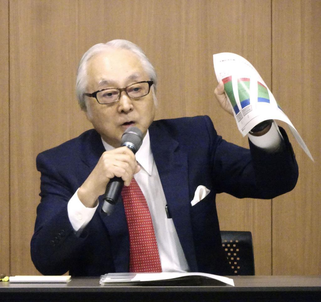 記者会見する日本郵政の長門正貢社長=15日午後、東京都千代田区