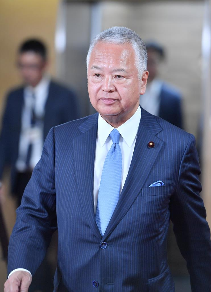 自民党の甘利明選挙対策委員長=東京・永田町(宮崎瑞穂撮影)