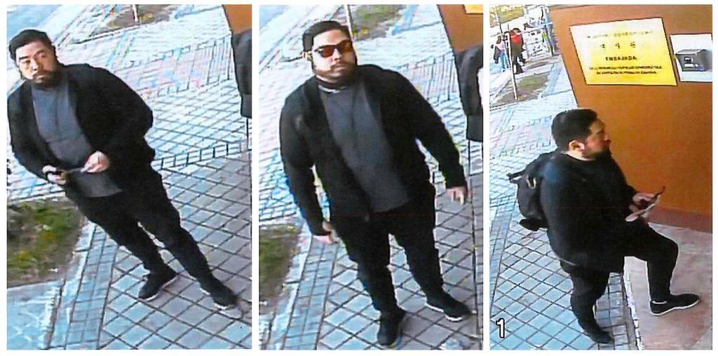 スペイン・マドリードの北朝鮮大使館が襲撃された2月22日、「自由朝鮮」メンバーとみられる男が大使館に入る姿を捕えた監視カメラの映像(ロイター)