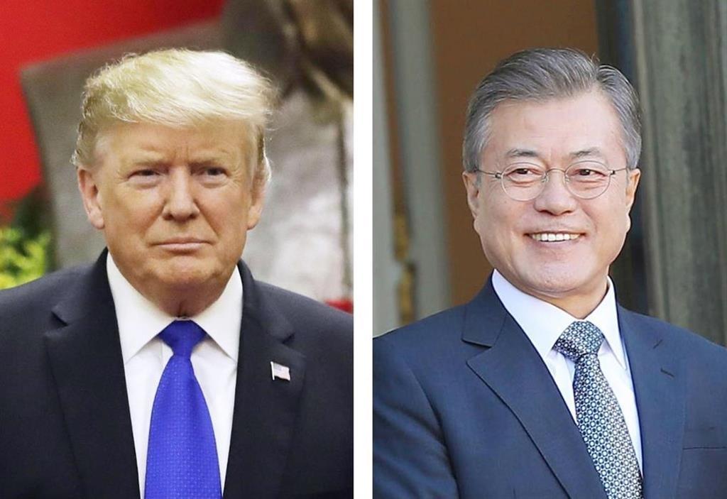 トランプ米大統領(AP=共同)、韓国の文在寅大統領(聯合=共同)