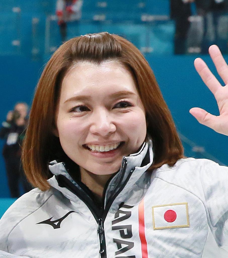 平昌冬季五輪2018のカーリング女子3位決定戦後、笑顔を見せる本橋麻里さん(松永渉平撮影)