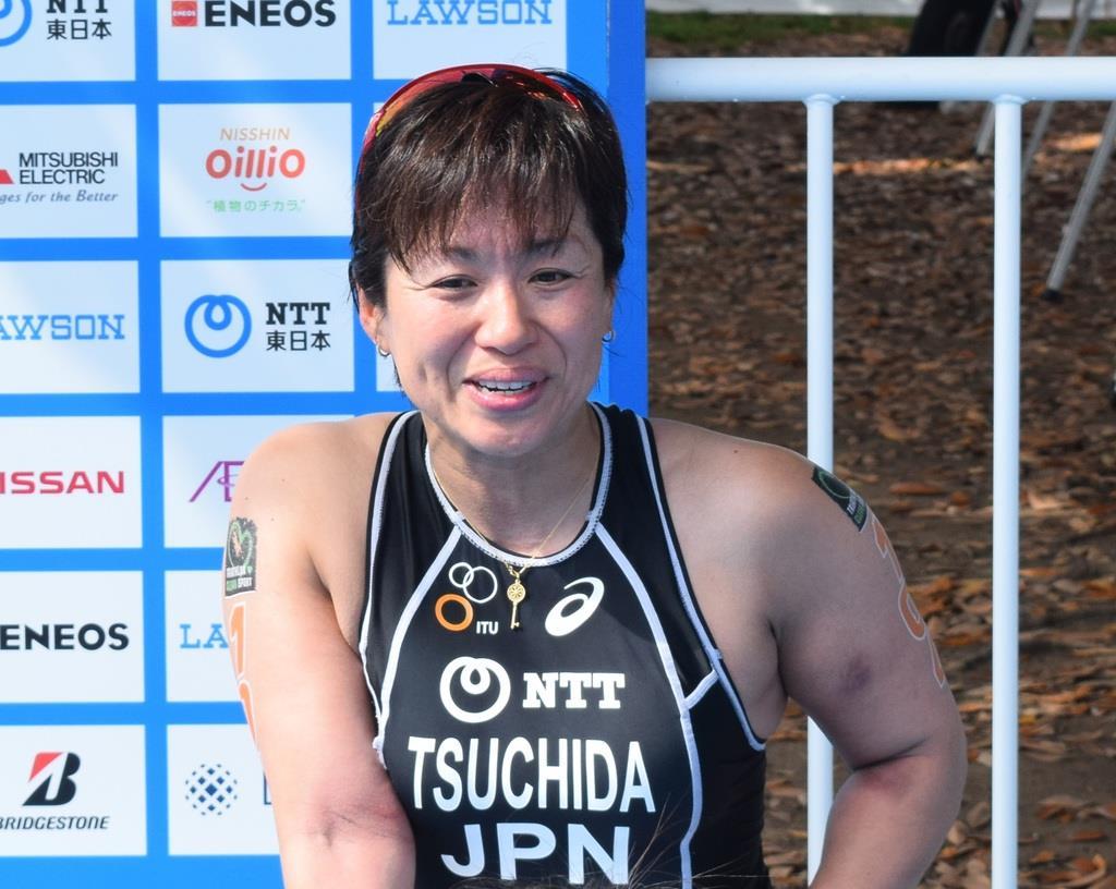 レース後、インタビューに答える土田和歌子選手