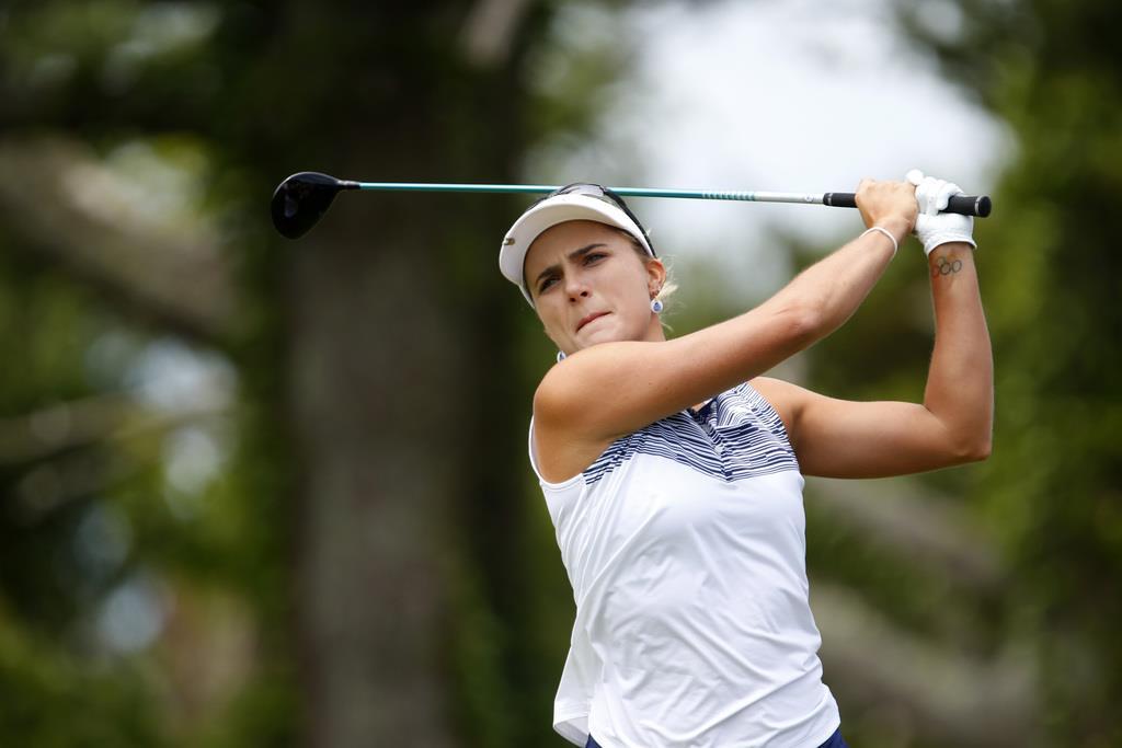 米女子ゴルフのショップライト・クラシックで優勝したレキシー・トンプソン(米国)=9日、ギャロウェー(AP)