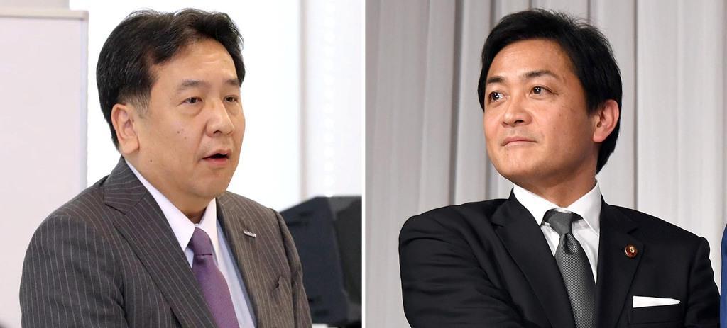 (左から)立憲民主党の枝野幸男代表、国民民主党の玉木雄一郎代表