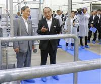 官房長官、宮崎の食肉加工施設視察