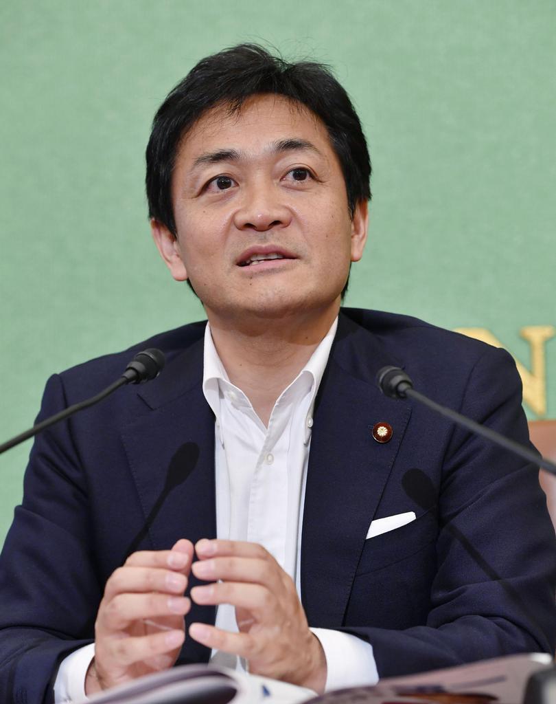 日本記者クラブで記者会見する国民民主党の玉木代表=12日午前、東京・内幸町