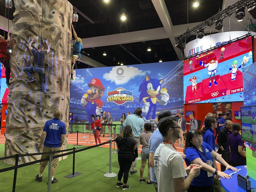 米ゲーム見本市「E3」で、東京五輪をテーマにしたゲームを出展したセガ=11日、ロサンゼルス(共同)