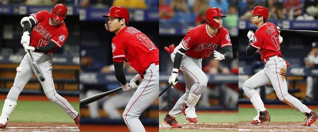 一回に本塁打、三回に二塁打、五回に三塁打、七回に単打を放ちサイクル安打を達成した大谷=左から、13日、トロピカーナフィールド(共同)