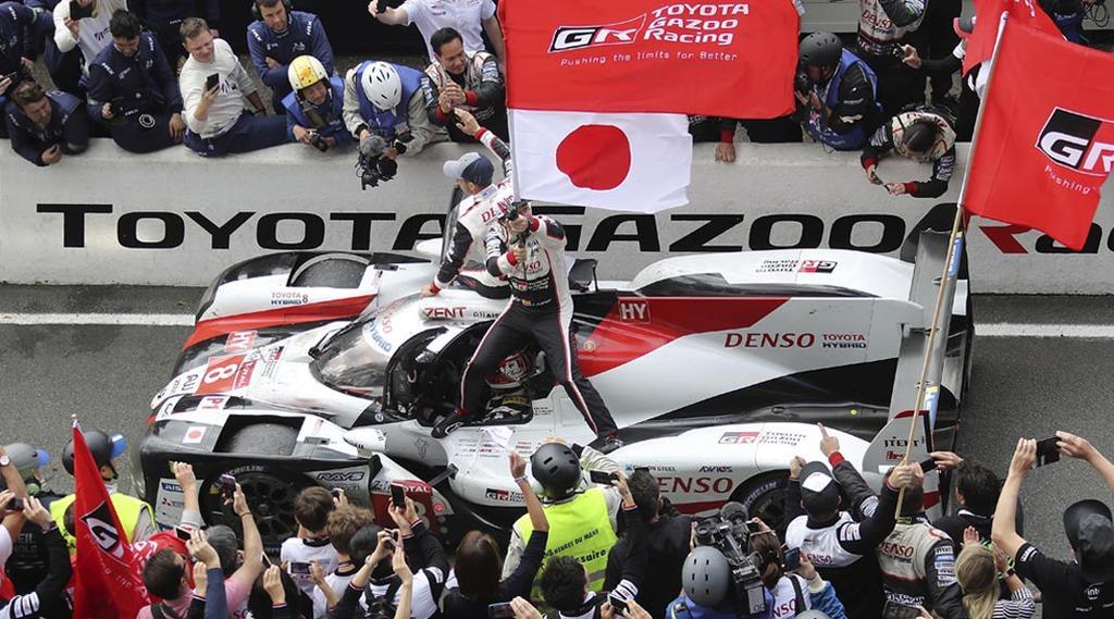 自動車耐久レースの第87回ルマン24時間で2連覇を達成したトヨタ8号車=16日、ルマン(AP)