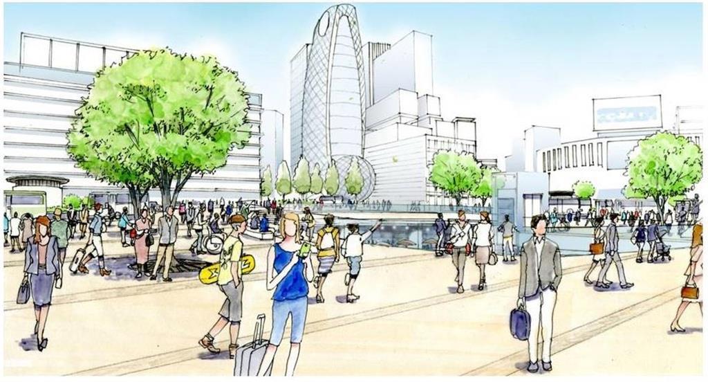 新宿駅西口広場の完成イメージ図(都提供)