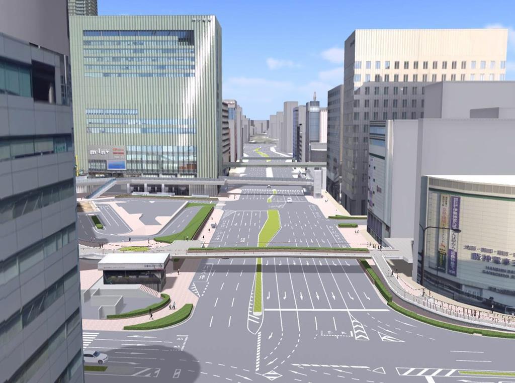 歩道を拡幅し横断歩道を新設した三宮交差点周辺のイメージ(神戸市提供)