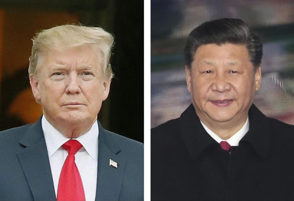 (左から)トランプ米大統領、中国の習近平国家主席