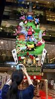 W杯もPR 「博多祇園山笠」、高さ10メートル「飾り山」公開
