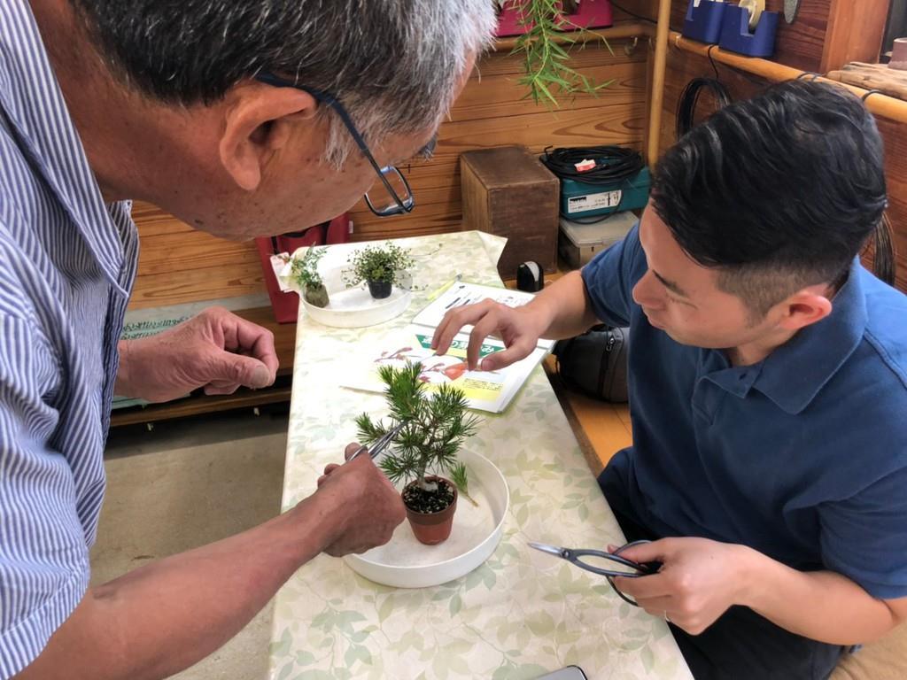 盆栽の手入れを学ぶ受講者(右)=6月17日、高松市(高松商工会議所提供)