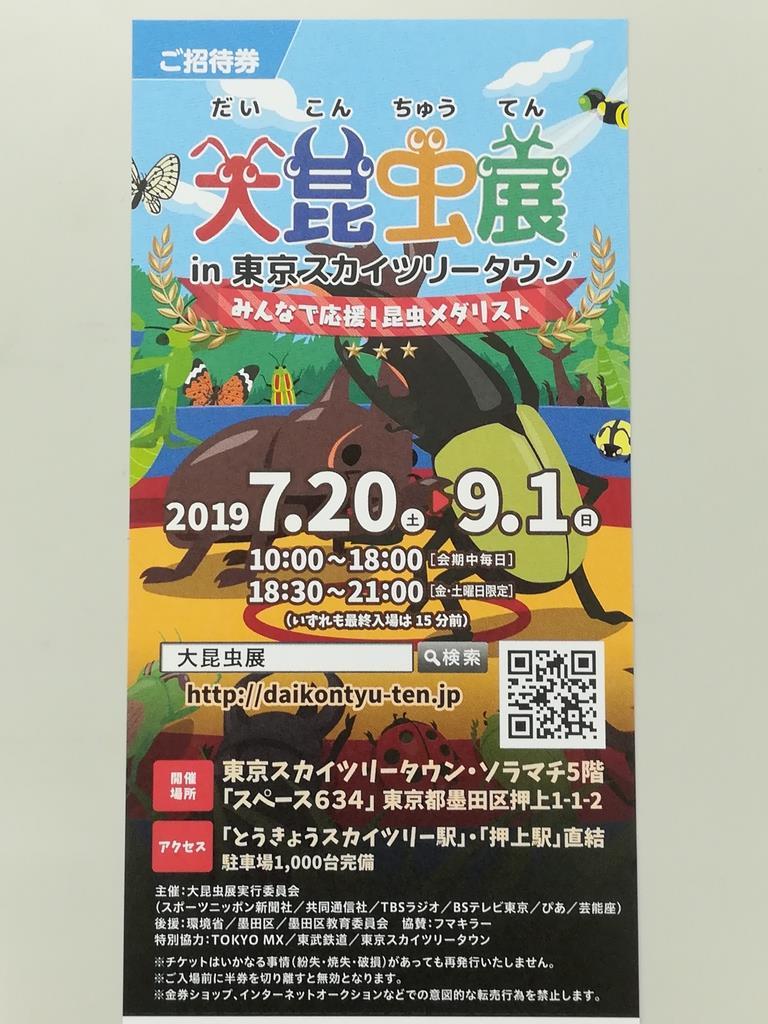 プレゼント用の「大昆虫展」招待券