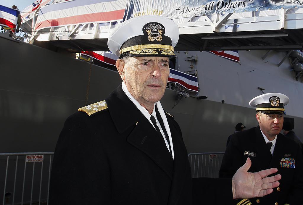 米海軍モラン作戦副部長(当時)=2018年12月、ボストン(米紙ボストン・ヘラルド提供、AP)