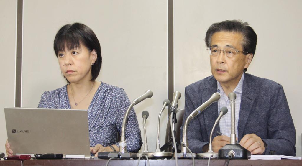 記者会見する冨田真由さんの代理人弁護士=10日午後、東京・霞が関の司法記者クラブ