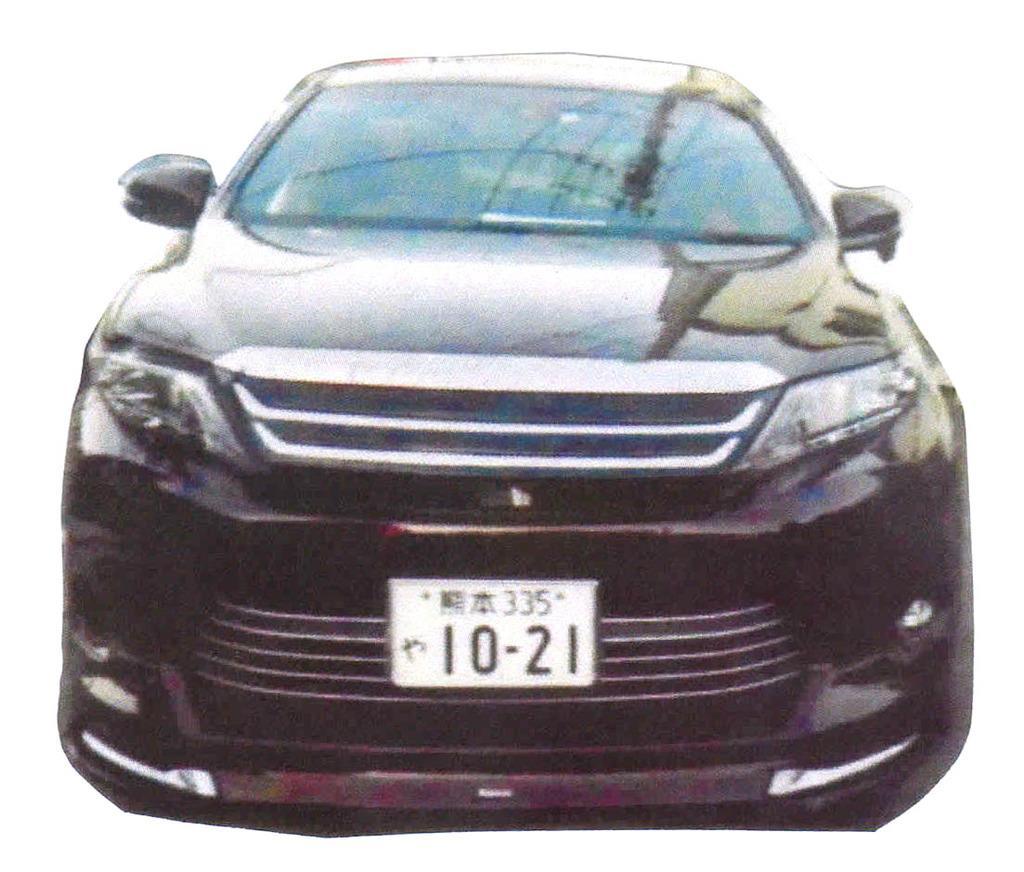 藤木寿人容疑者が乗って逃走した車(熊本県警提供)