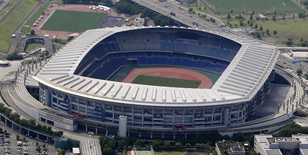 ラグビーW杯日本大会の決勝が行われる日産スタジアム=横浜市(共同通信社ヘリから)