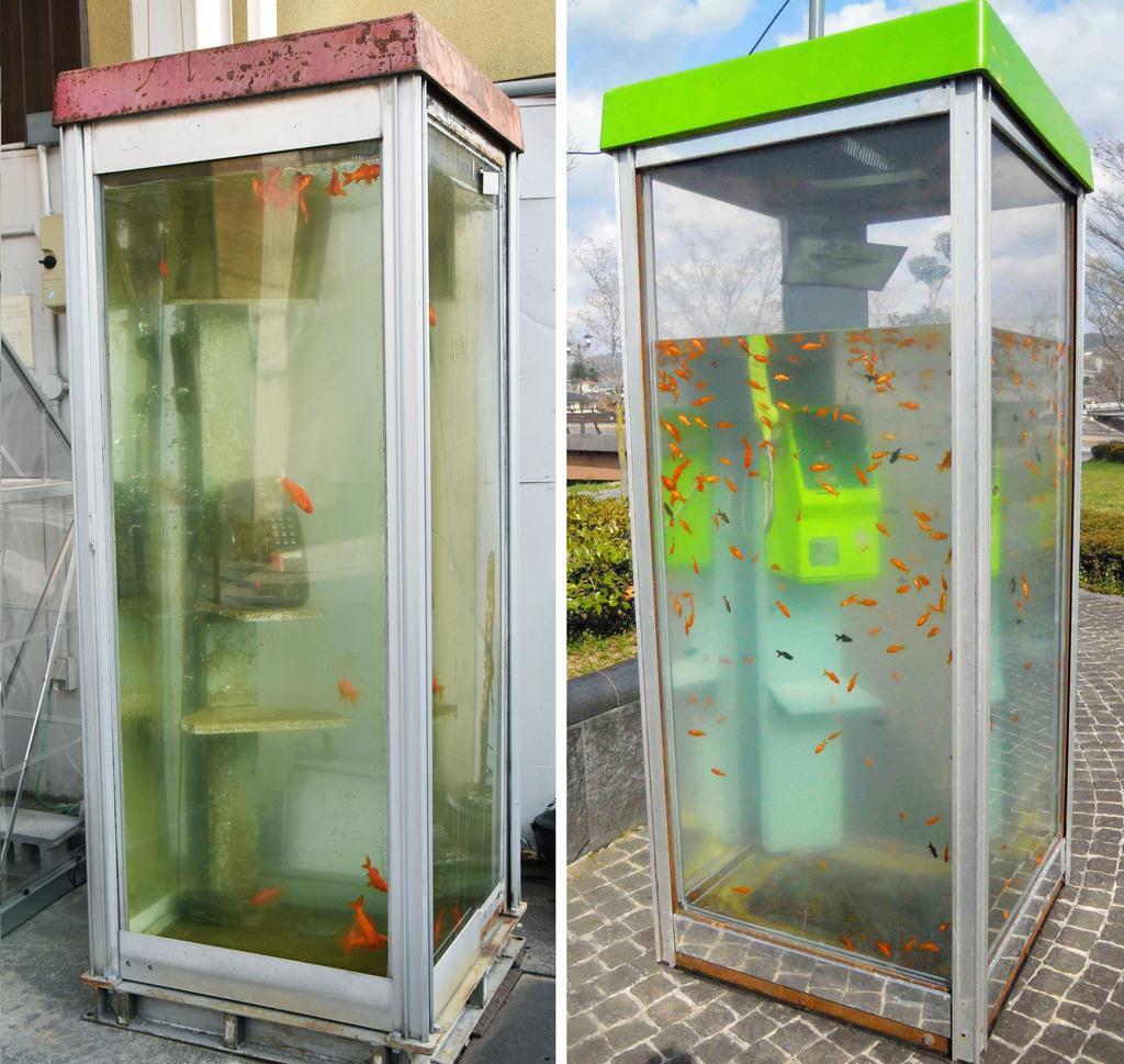 奈良県大和郡山市の柳町商店街に設置されていたオブジェ(左)と、山本伸樹さんの作品(本人提供)