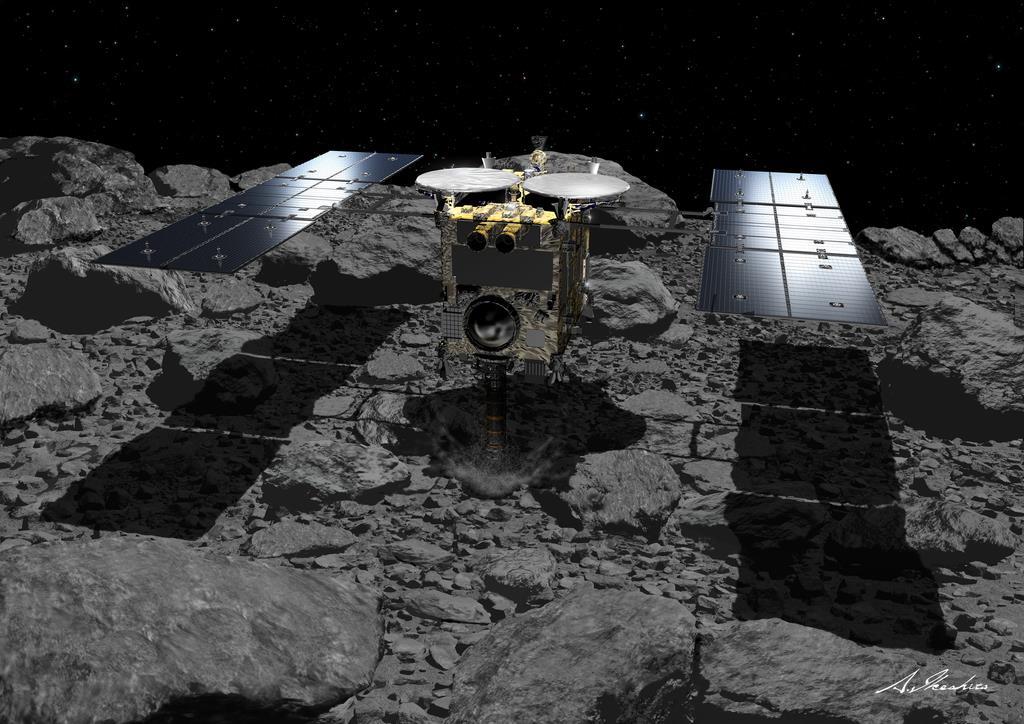 小惑星「リュウグウ」に着地する探査機「はやぶさ2」の想像図(池下章裕氏提供)