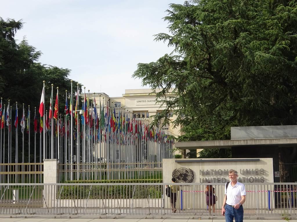 国連人権理事会が開かれるジュネーブの国連本部(三井美奈撮影)
