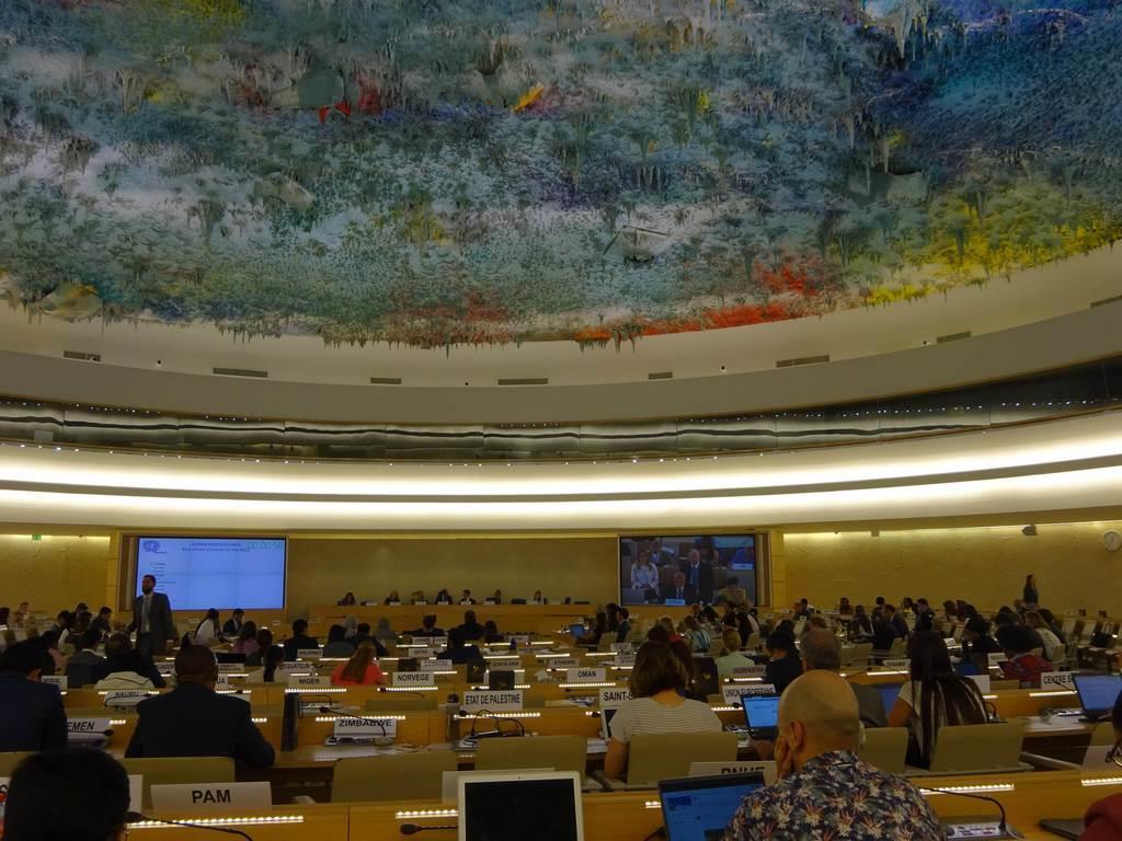 ジュネーブで開かれた国連人権理事会(6月25日、三井美奈撮影)
