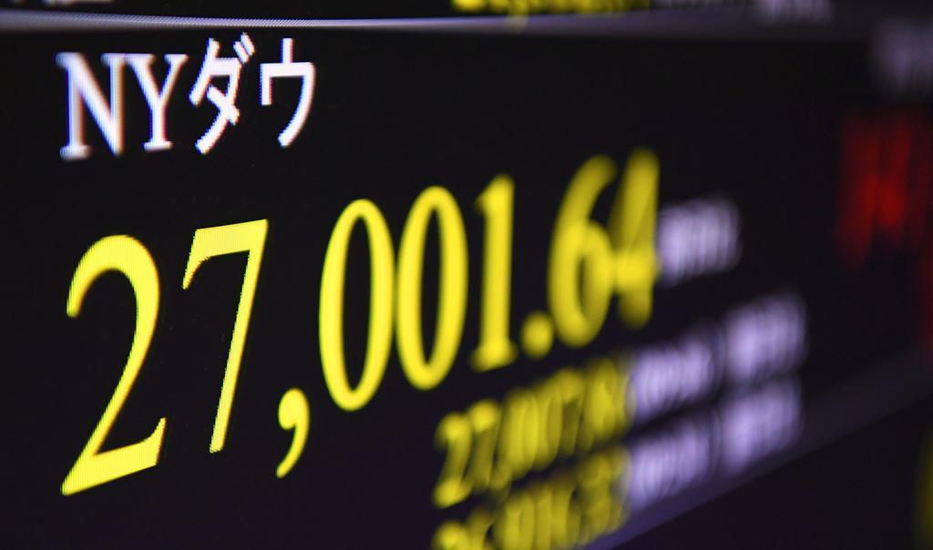 一時2万7000ドルを上回ったダウ工業株30種平均を示すモニター=11日夜、東京・東新橋