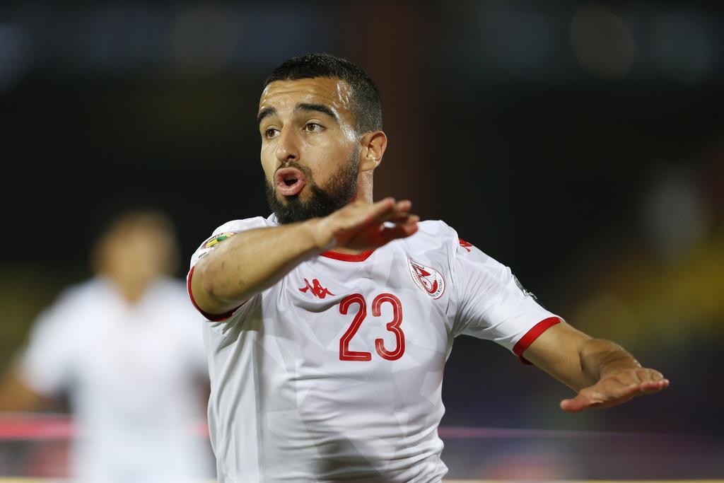 マダガスカル戦で、3得点目を決め、喜ぶチュニジア代表、ナイム・スリティ=11日、カイロ(AP)
