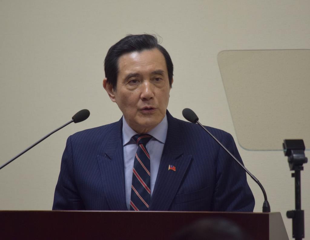 馬英九前総統=10日、台北の国民党本部(田中靖人撮影)