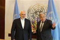 無人機破壊 イラン外相「情報なし」 国連事務総長と会談