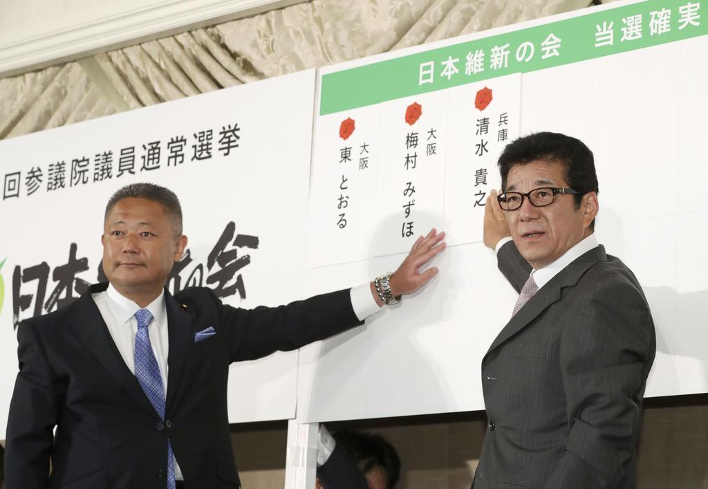 開票センターで当確者の名前を張る日本維新の会の松井代表(右)と馬場幹事長=21日午後9時5分、大阪市内のホテル