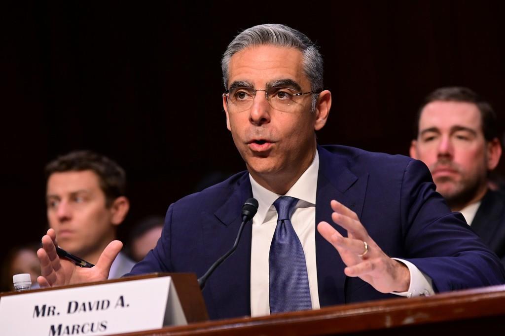 7月16日、米議会で、仮想通貨「リブラ」について証言するフェイスブック幹部のデビッド・マーカス氏(ロイター)