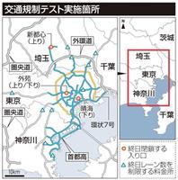 交通規制テスト、周辺の高速渋滞は東名で15キロ、東北で6キロ