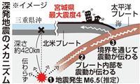 宮城で震度4、震源は600キロ離れた三重県沖 遠方が揺れる「深発地震」に注意