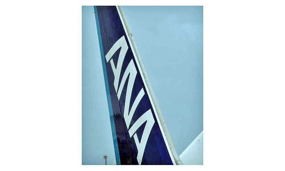 全日空(ANA)機と日本航空(JAL)機の尾翼のロゴマーク(古厩正樹撮影)