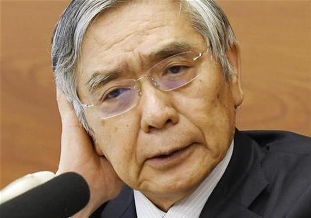 金融政策決定会合後に記者会見する日銀の黒田総裁=30日午後、日銀本店
