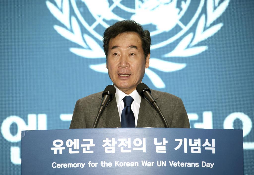 国連軍参戦の日の式典で演説する韓国の李洛淵首相=7月27日、ソウル(聯合=共同)
