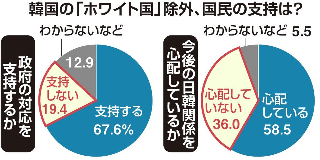 韓国「ホワイト国」除外 内閣不支持層でも5割超が政府支持 産経・FNN合同世論調査