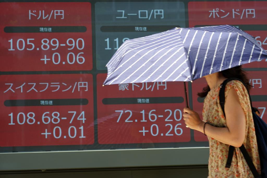 為替の動きを示す掲示板のそばを通り過ぎる女性=9日、東京都内(AP)