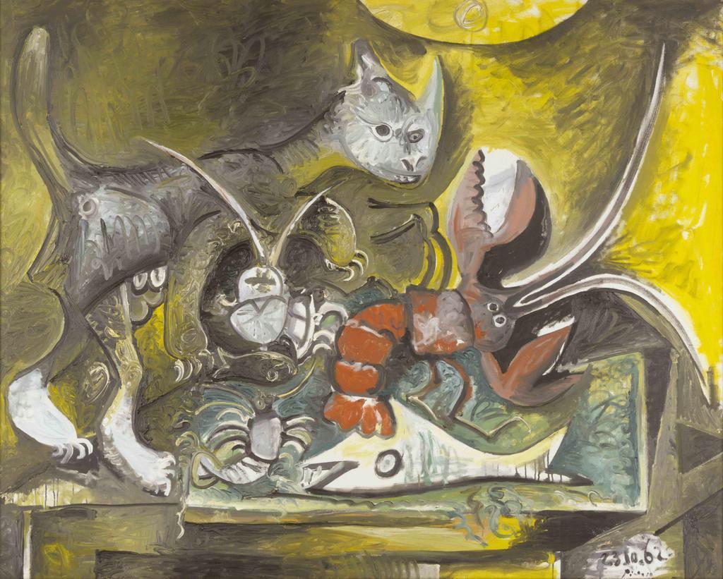 パブロ・ピカソ「猫のいる静物」1962年10月23日~11月1日 油彩、キャンバス (c)2019-Succession Pablo Picasso-BCF(JAPAN)