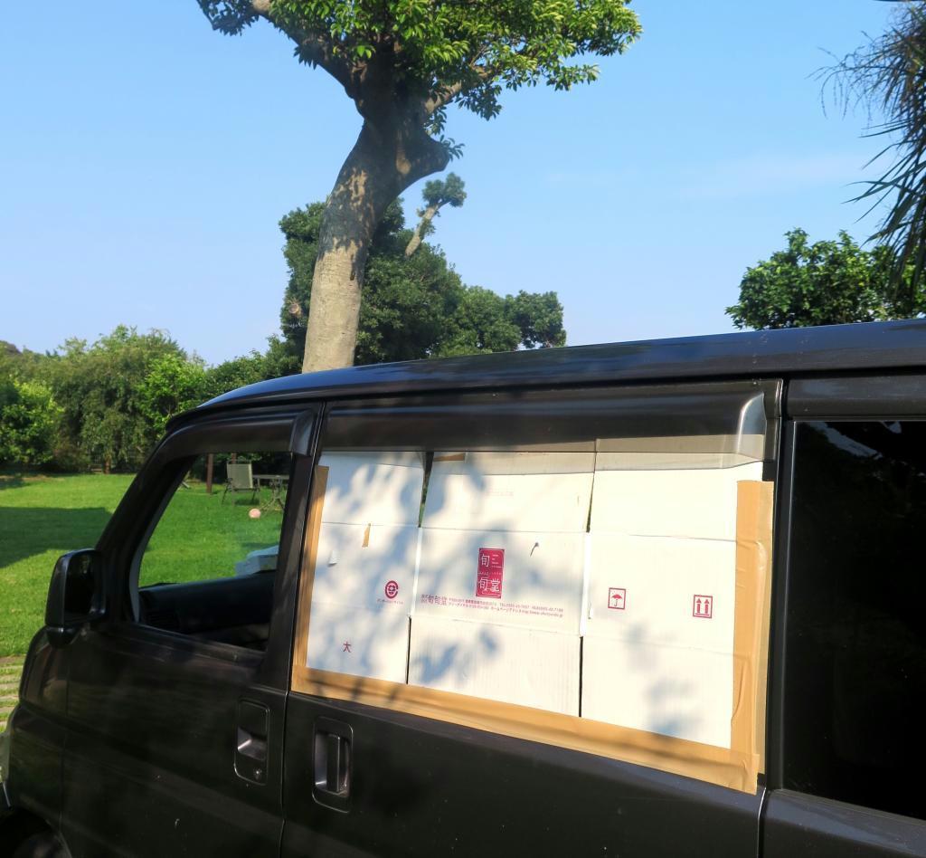 梅の種で割れてしまった車の窓ガラス