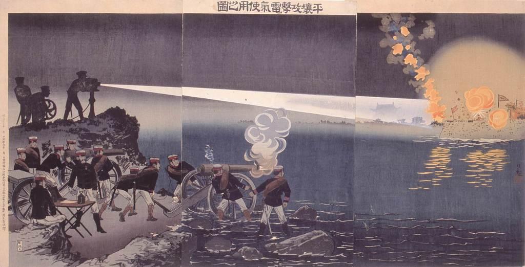 小林清親「平壌攻撃電氣使用之圖」(1894〈明治27〉年、大判錦絵三枚続)