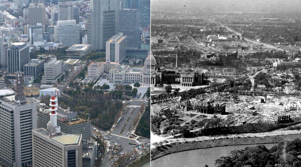 終戦後、米軍が撮影した国会議事堂周辺(右)。焼け野原となった一帯には現在、ビルが立ち並んでいる(左、松本健吾撮影)