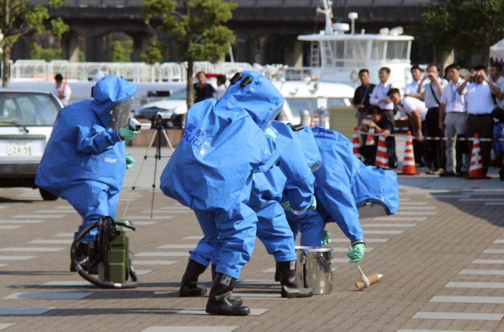 TICADを前に行われたテロ対策合同訓練=横浜市