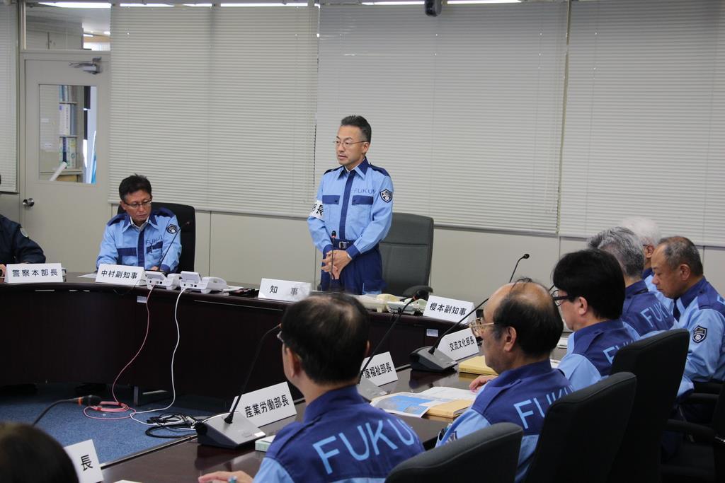 福井県内2例目の養豚場での豚コレラ発生を受け、開催された対策本部会議=12日、福井県庁